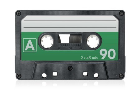 Blank Audio Cassette Tape against white background