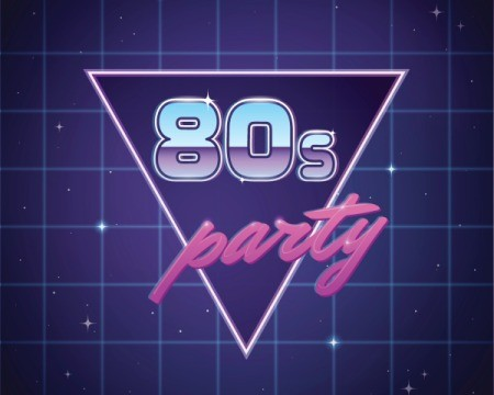 "1980s era sign with the words ""80s Party"""