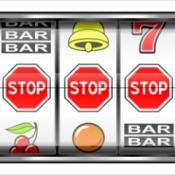 Close-up of Slot Machine displaying 3 stop sign