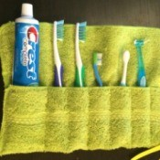 Making a Washcloth Travel Toothbrush Holder