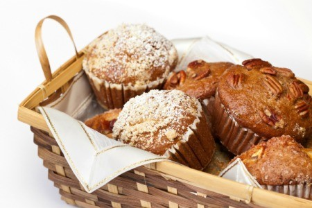 Muffins in a basket.