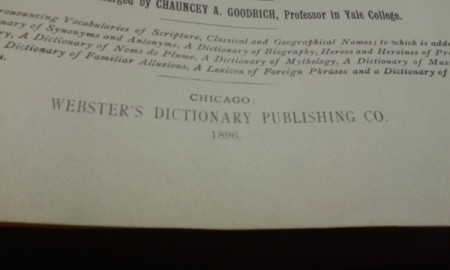 Value of 1896 Webster's Dictionary