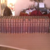 set of Britannica on table