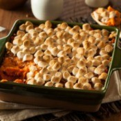 Square Baking Dish with sweet potatoes covered in marshmallows