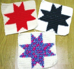Crocheted squares with different colored stars.