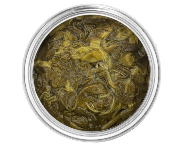 Top view of a aluminum can containing spinach