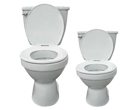 Large and small white toilets on a white background