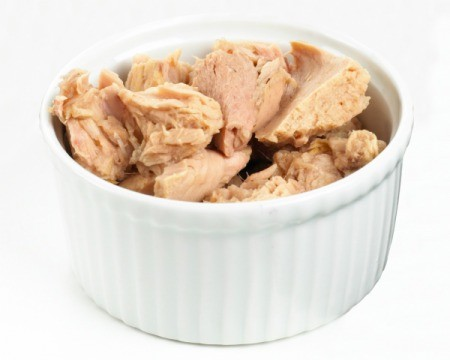 Canned Tuna drained in a white dish