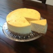 cheesecake on glass plate