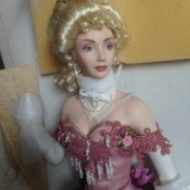 doll with elegant hairstyle and evening dress