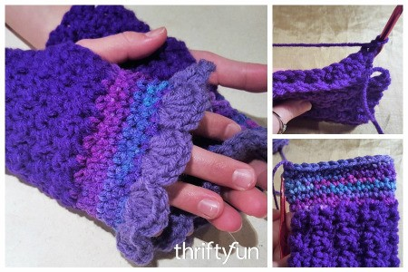 Crocheted Ruffled Fingerless Gloves