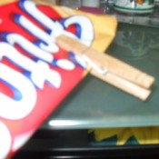 bag of Fritos closed with a clothespin