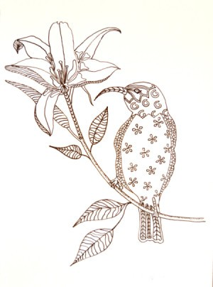 A coloring page with a hummingbird and flower.