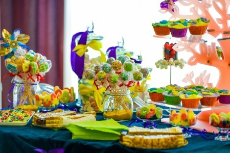 Brightly colored candy and dessert buffet