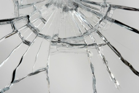 Close up of shattered mirror