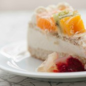 Slice of Ssaeng Cream Cake (Korean style sponge cake with whipped cream frosting and fruit)