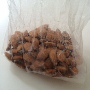 Frozen almonds in a plastic bag.