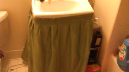 Attach Sink Skirt with Clear Tape