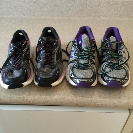 Two pairs of sneakers, one for indoor and one for outdoor.