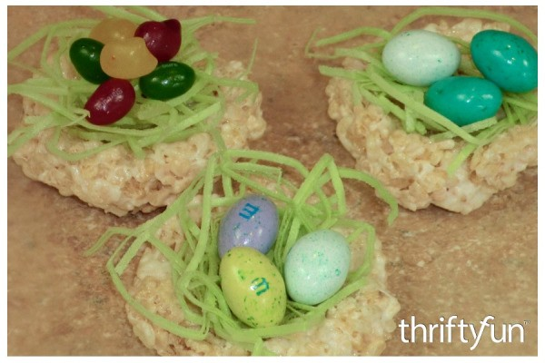 Making Rice Krispy Treat Nests