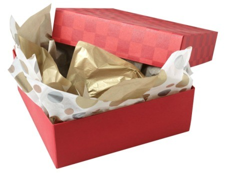 Opened wrapped gift box with tissue