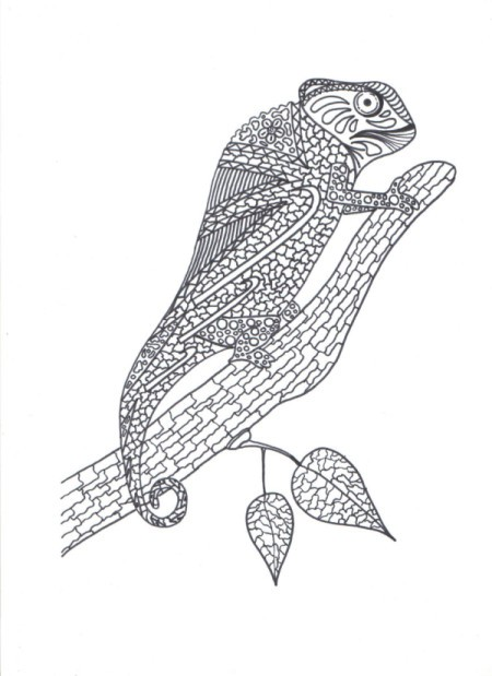 A coloring page featuring a chameleon.