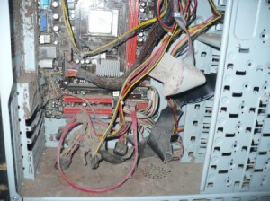 inside of a very dusty desktop computer