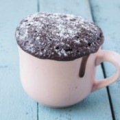 Chocolate cake cooked in a mug