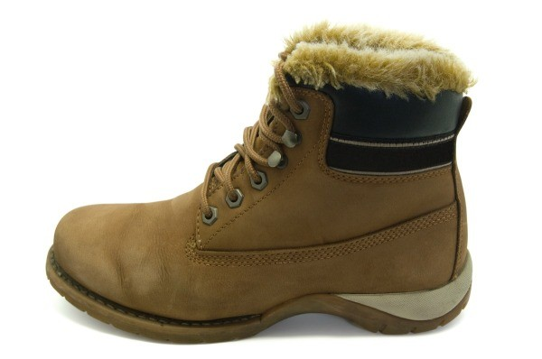 Suede work boot on white background