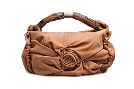 Fancy brown suede purse with rosette design