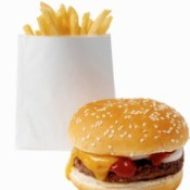Fast food hamburger and fries