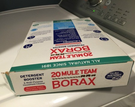 Box of Mule Team Borax laying on it's side