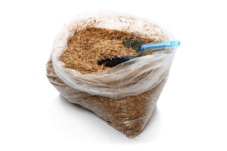 Plastic bag full of grass seed