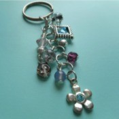 pretty beaded keychain on blue background