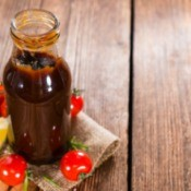 Jar of homemade barbecue sauce