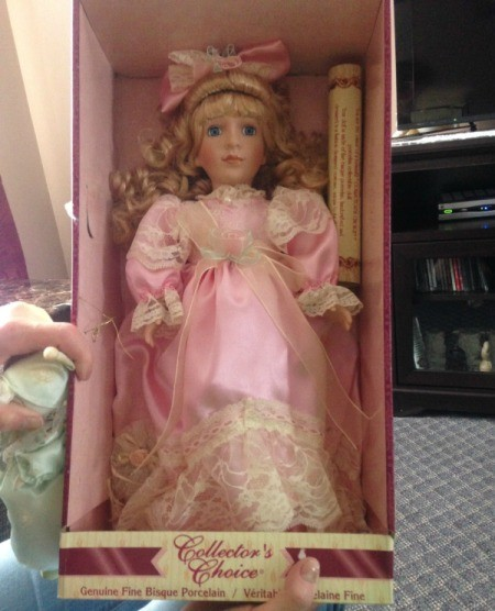 doll wearing pink dress in box
