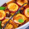 Peaches or nectarines baked with mint and syrup