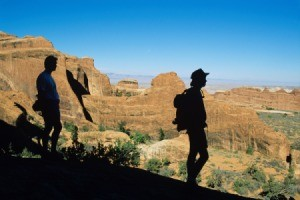 hikers in Arches National Park
