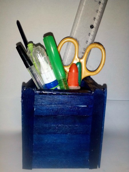 Popsicle Stick Office Tools Organizer