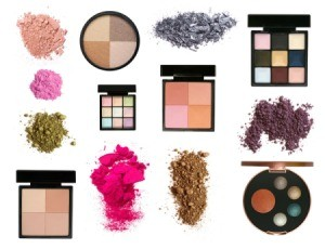 Cosmetics displayed on a white background