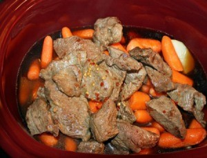 Beef and Vegetables for soup in a crock pot