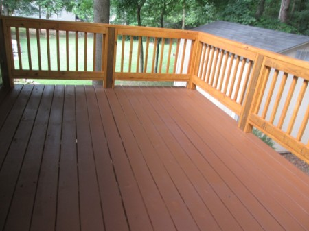 tip staining an old deck to match the new