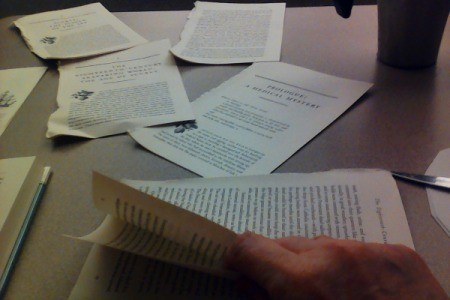 Pages that have been removed from a book.