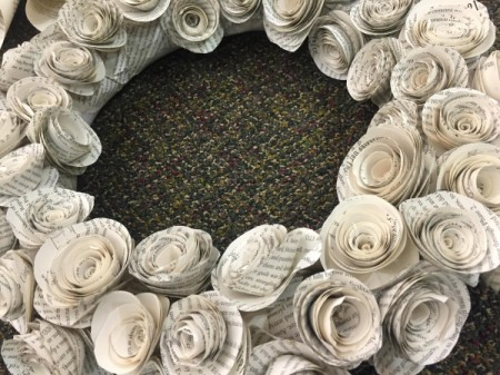 Book page paper rosette wreath.