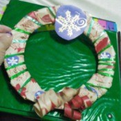 Recycled Christmas Wrapping Paper Wreath for Kids