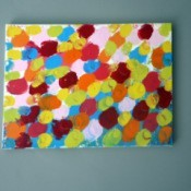 canvas covered with paint circles