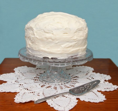 White Frosting on Cake