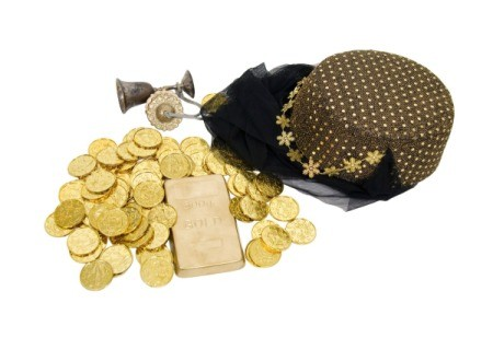 Gold coins, veil, and Arabian style hat