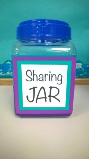 Recycled plastic bottle labeled as the sharing jar.