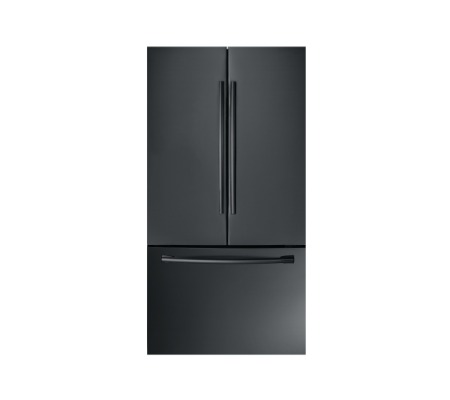 Black refrigerator isolated against a white background